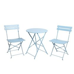 Finnhomy 3 Piece Outdoor Patio Furniture Sets, Outdoor Bistro Sets, Steel Folding Table and Chai ...