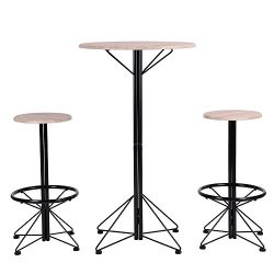 Homy Casa Bar Table and Chairs Set of 3 Wooden Round Table and 2 Pub Stools for Dining Room Bist ...