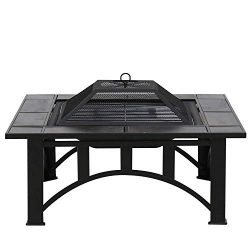 Kinbor 33-Inch BBQ Grill Portable Wood Burning Fire Pits Iron Backyard Patio Garden Square Fire  ...