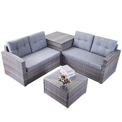 Leisure Zone Patio Furniture Set 4 Piece PE Rattan Wicker Chairs Grey Cushion with Coffee Table  ...