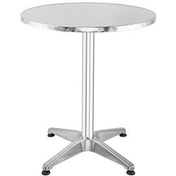 Hromee Bistro Bar Table 23.5″ Aluminum Round Tabletop for Indoor Outdoor Silver