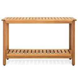 Best Choice Products 48in 2-Shelf Indoor Outdoor Multifunctional Eucalyptus Wood Buffet Bar Stor ...