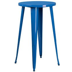 "Flash Furniture 24"" Round Blue Metal Indoor-Outdoor Bar Height Table"