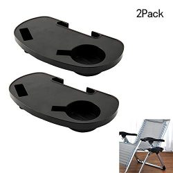 Hootech 2 Pack Universal Cup Holder for Zero Gravity Chair Utility Tray Clip On Chair Table with ...