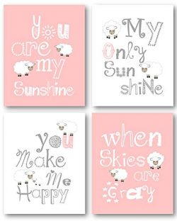 Pink Nursery Decor, You Are My Sunshine Art, Little Lamb Wall Decor, Nursery Wall Art, Blue and  ...