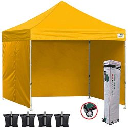 Eurmax 10×10 Ez Pop Up Canopy Outdoor Canopy Instant Tent with Full Zipper Sidewalls and Ro ...