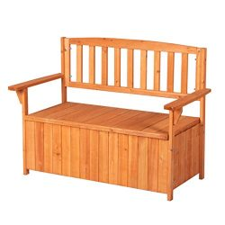Good Life Outdoor Waterproof Garden Bench with Backrest Patio Storage Box All Weather Deck Box C ...