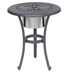 iPatio Athens 22 inch Round Ice Bucket Table with Ice Bucket to Keep Your Drinks Cool