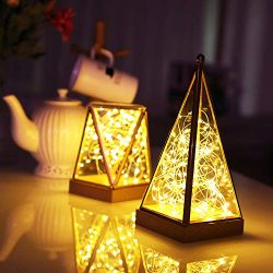 LED Glass Fairy Light Polygonal Firefly Night Lights Build-in Battery Powered Copper Wire Lights ...