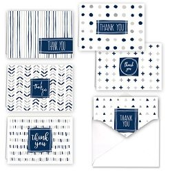 Navy Patterns Thank You Folded Assortment Card Pack – Set of 36 Cards, 6 Designs – 6 ...