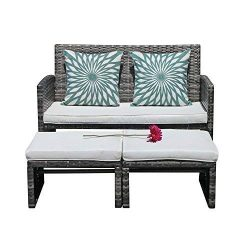 Orange Casual 3 Pieces Outdoor Wicker Loveseat Sofa Furniture Set with Ottoman Cushioned Seat Lo ...