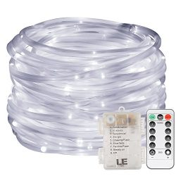 LE 33ft 120 LED Dimmable Rope Lights, Daylight White Patio Light, Battery Powered, IP44 Water Re ...