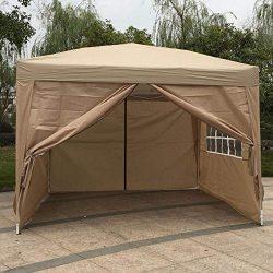 Rainrain27 3 x 3m Two Windows Two Doors Awning Practical Waterproof Folding Tent Khaki Folding p ...