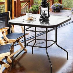 Homevibes 32″ Outdoor Patio Dining Table Tempered Glass Top Bistro Table Top Umbrella Stan ...