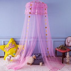 Twinkle Star Kids Mosquito Netting Princess Bed Canopy 3 Layers Lace Ruffle Dome for Baby, Girls ...