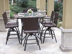 Pebble Lane Living Powder Coated 7pc Handwoven Outdoor UV Resin Wicker Swivel Patio Bar Dining S ...