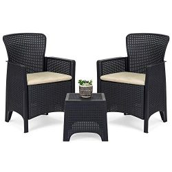 Best Choice Products 3-Piece Weather Resistant Patio Bistro Conversation Furniture Set w/Side Ta ...