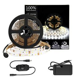 HOMELYLIFE Daylight White LED Strip Lights Kit, 6500K Super Brightness Dimmable 300 SMD2835 LEDs ...