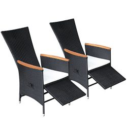 Daonanba Elegant Dining Chair Comfortable Outdoor Chair Reclining Outdoor Dining Chairs 2 pcs Po ...
