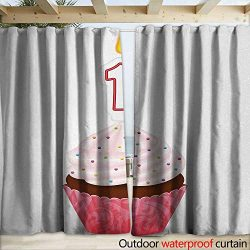 1st Birthday Drape for Pergola Curtain Kitchen Cuisine Inspired Pastry Delicious Cupcake Party w ...