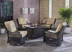 Hanover Orleans 5-Piece Steel Outdoor Patio Fire Pit Set 4 Swivel Gliders, Sahara Sand Tan Cushi ...