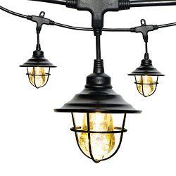 Enbrighten Vintage LED Café String Lights with Oil-Rubbed Bronze Lens Shade, Black, 48ft, 24 Lif ...