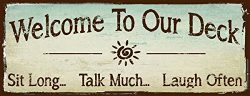 Sun Protected Welcome to Our Deck Metal Sign, outdoor living, Rustic Decor