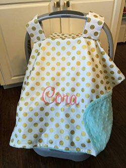 Personalized Car Seat Canopy Girl Carseat Blanket Cover with Monogram