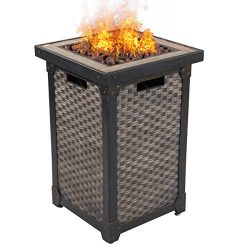 "DIAN 29"" Outdoor Patio Gas Fire Pit Wicker Propane Gas Fire Table with Lava Rocks 30,000 BTU Aut ..."