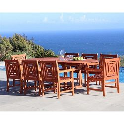 Vifah V1294SET18 9 Piece Renaissance Outdoor Wood Patio Dining Set