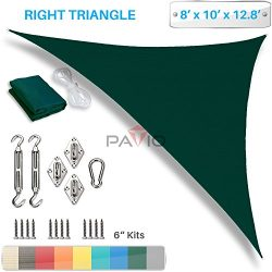 Patio Paradise 8′ x 10′ x 13′ Sun Shade Sail with 6 inch Hardware Kit, Green R ...