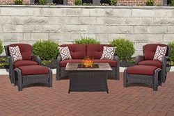 Hanover STRATH6PCFP-RED-TN 6 Piece Strathmere Lounge Set in Crimson Red with Fire Pit Table Outd ...