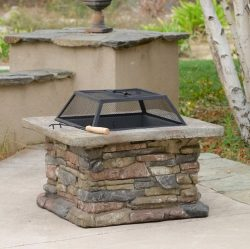 Patio Furniture-Premium® Natural Stone Square Fire Pit-Patio Fire Pit-Ideal Centerpiece For Keep ...