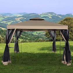 Homevibes 10′ x 10′ Gazebo for Patio Outdoor Canopy Party Tent Large Waterproof Meta ...