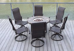Pebble Lane Living 7pc Swivel Rocking Wicker Patio Furniture 42″ Propane Fire Pit Set &#82 ...