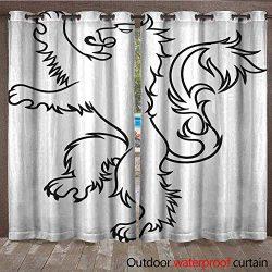 BlountDecor Drape for Pergola Curtain Lion Tattoo Vector Vector Men s Tattoo Women s Tattoo Wate ...