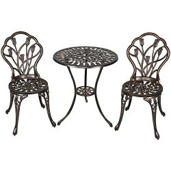 Sunnydaze 3-Piece Outdoor Cast Aluminum Patio Bistro Set, Copper Patina Finish