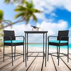 Outime Patio Furniture Outdoor Black Wicker Bar Stool Set Chairs&Table | 3 Piece | Turquoise ...