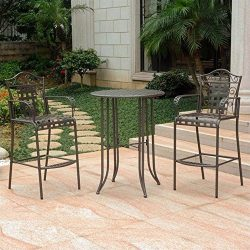 International Caravan 608286 3-Piece Bar-Height Patio Bistro Set, Brown