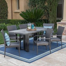 Fiona Outdoor 7 Piece Grey Wicker Dining Set with Textured Grey Oak Finish Light Weight Concrete ...