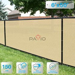 Patio Paradise 6′ x 50′ Tan Beige Fence Privacy Screen, Commercial Outdoor Backyard  ...