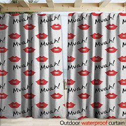 warmfamily Kiss Patio Gazebo Pergola Cabana Red Woman Lips Kiss Marks Pattern Romance Feminine G ...