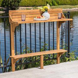 Great Deal Furniture Cassie Outdoor Natural Finish Acacia Wood Balcony Bar Table