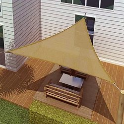 BIG Oversized Tan Triangle Sun Shade Tarp Blocker Sail 16.5′ Desert Sand Color