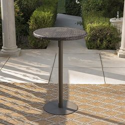 Domicca Outdoor 26 Inch Multibrown Wicker Round Bar Table