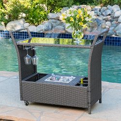 Mystique Grey Wicker Bar Cart