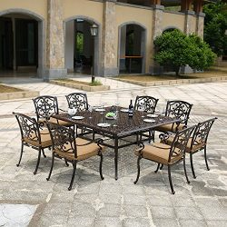 DOMI OUTDOOR LIVING Traditions Cast Aluminum 9-Piece Dining Set with Seat Cushions and 63-Inch S ...
