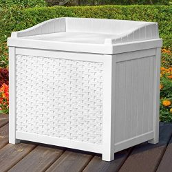 Outdoor Deck Box Wicker Storage Bench Seat 22-Gallon Ideal for All Garden Storage Needs in White ...