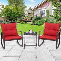 Tangkula 3 PCS Patio Rocking Wicker Bistro Set Outdoor Rattan Wicker Furniture Set Garden Rockin ...
