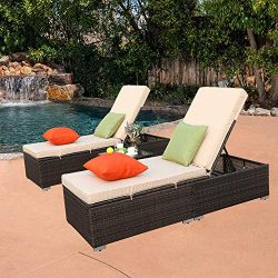 Do4U 3 Pcs Outdoor Chaise Lounge – Easy to Assemble – Thick & Comfy Cushion Wick ...